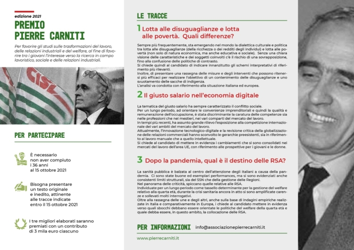 Bando Pierre Carniti 2021